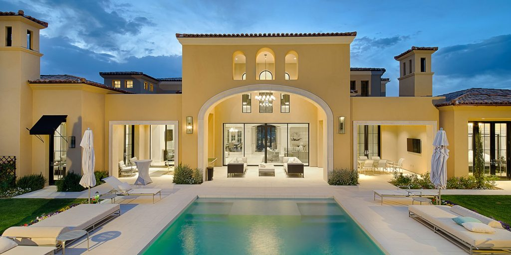 Exterior of formal mediterranean with pool