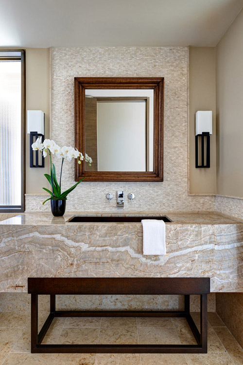 Deser prairie custom home bathroom with marbled sink