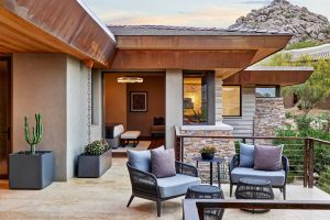 Outdoor patio in desert prairie home