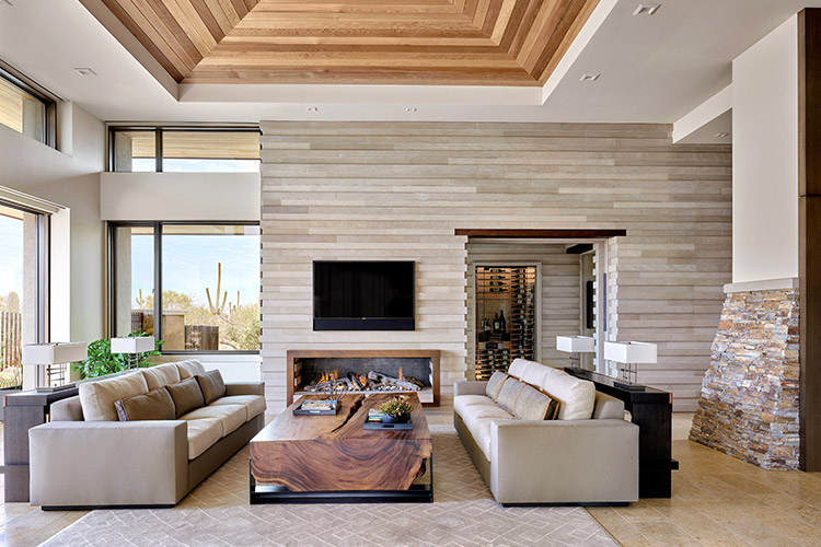 Living room in desert prairie home with oversized couches