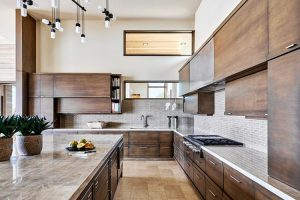 Desert prairie custom kitchen with dark cabinets