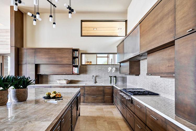 Desert prairie custom kitchen with dark cabinets