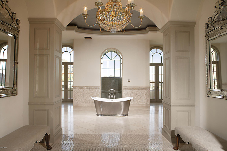Master bathroom in custom home with standalone tub