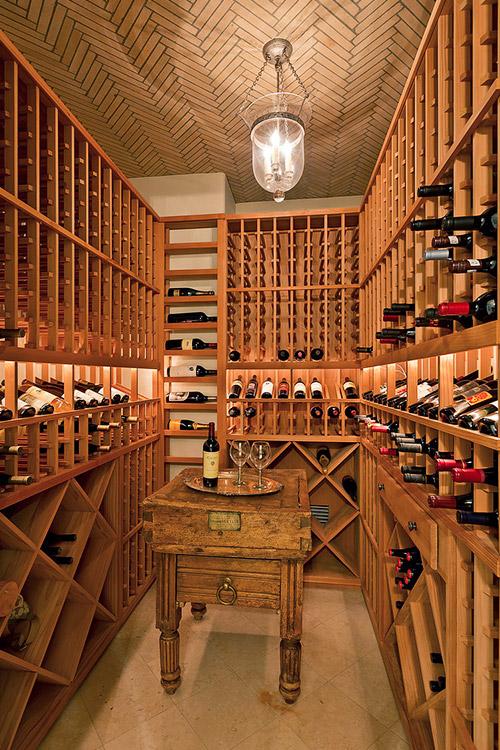 Wine cellar in custom home