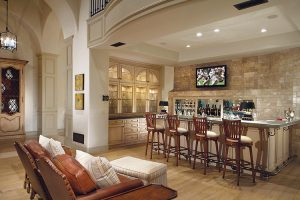 Custom bar and seating area in luxury home