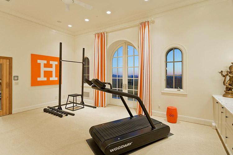 Home gym inside a custom home