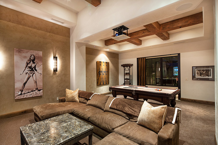Luxury home living room with pool table