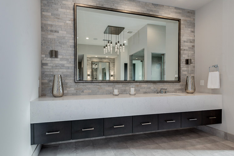 Expansive vanity in custom home bathroom