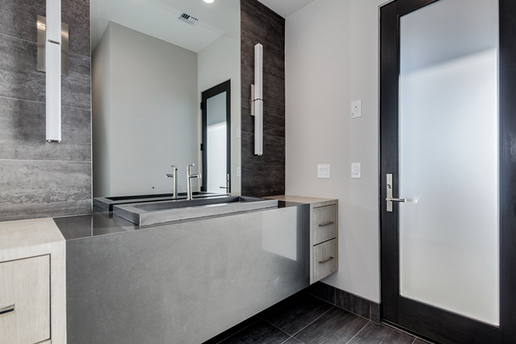 Bathroom in custom home with modern designs