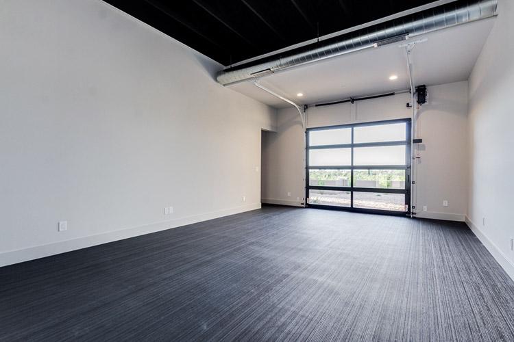 Custom room in home with garage door opening